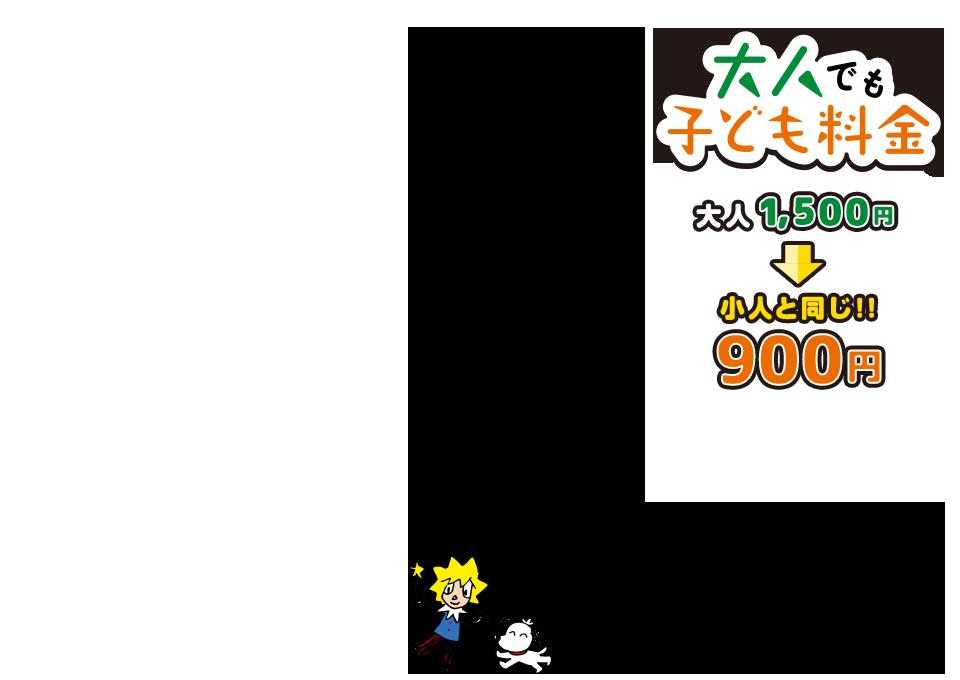 大人でも子ども料金になる割引チケット 大人1,200円→600円