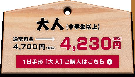 大人(中学生以上) 通常料金4,400円→割引料金4,230円 ご購入はこちら