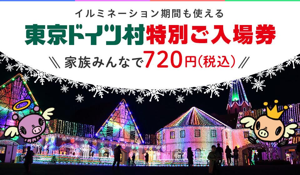 イルミネーション期間も使える 東京ドイツ村 特別ご入場券 家族みんなで720円(税込)