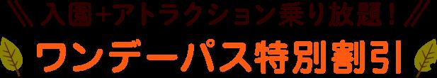 入園+アトラクション乗り放題!ワンデーパス特別割引