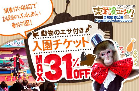 東筑波ユートピアの入園チケットが最大31%OFF