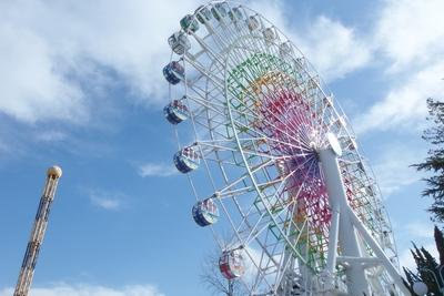 【シャイニング・フラワー(大観覧車)】高さ50mの大観覧車。園内で富士山が一番よく見える場所です。(料金 500円 所要時間:11分)